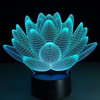 Christmas Festival 3D Lotus Flower Shape Touch Colorful Night Light -  TRANSPARENT
