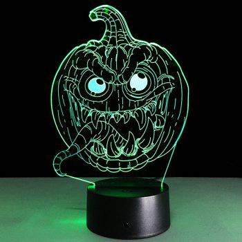 Halloween Festival 3D Funny Pumpkin Shape Touch Colorful Night Light - TRANSPARENT TRANSPARENT