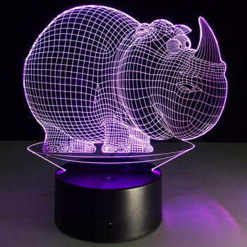 Halloween Festival 3D Rhinoceros Shape Touch Colorful Night Light -  TRANSPARENT
