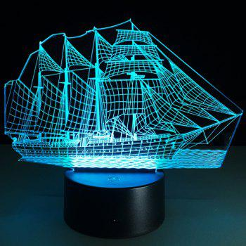 Festival 3D Sailing Ship Shape Touch Colorful Night Light