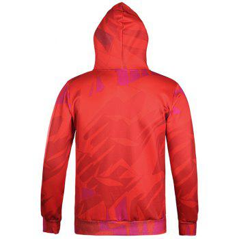 Kangaroo Pocket Character Printed Pullover Hoodie - RED 2XL