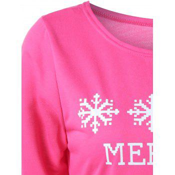 Sweat-shirt Imprimé à Message et Flocon de Neige - rose S