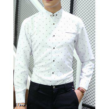 Polka Dot Button-Down Long Sleeve Shirt