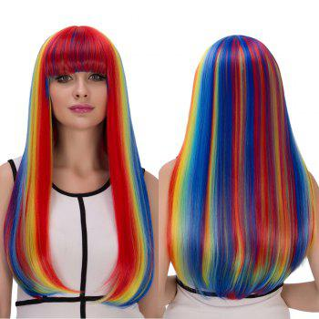 Cosplay Synthetic Rainbow Color Long Full Bang Tail Adduction Wig