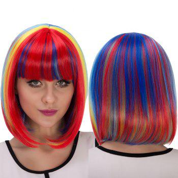 Rainbow Short Full Bang Bob Haircut Cosplay Synthetic Wig