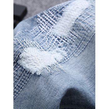 Zipper Fly Frayed Stitching Scratched Ripped Jeans - LIGHT BLUE LIGHT BLUE