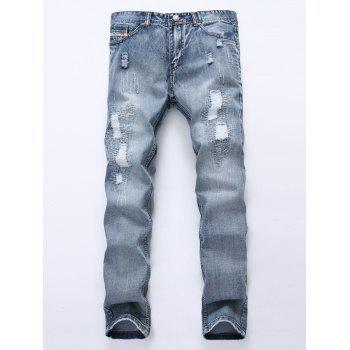 Zipper Fly Frayed Stitching Scratched Ripped Jeans - LIGHT BLUE 30