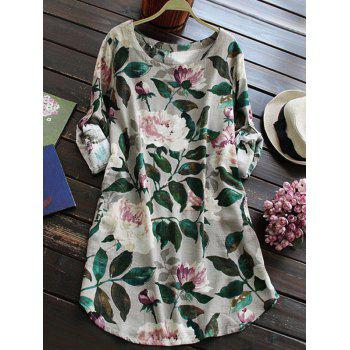 Linen Floral Printed Shirt Dress with Sleeves