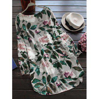 Linen Floral Printed Shirt Dress with Sleeves - S S