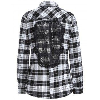 Lace Panel Long Sleeve Skull Gingham Plaid Shirt