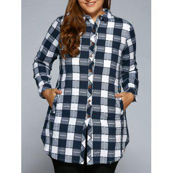 Plus Size Slit Long Sleeve Checkered Plaid Shirt