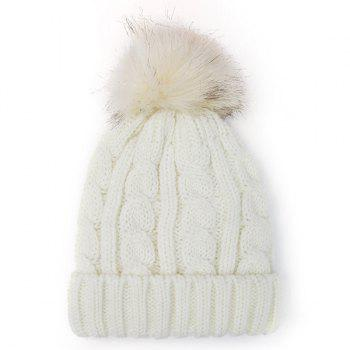 Fuzzy Ball Hemp Flowers Thicken Double-Deck Knit Beanie