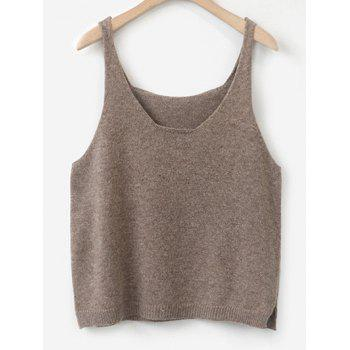 Scoop Neck Side Furcal Knitted Vest
