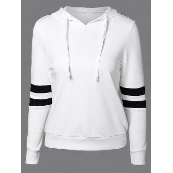 Long Sleeve Sports Color Block Hoodie - WHITE L