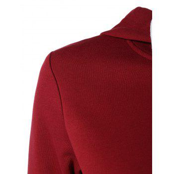 Long Sleeve Sports Color Block Hoodie - RED 2XL