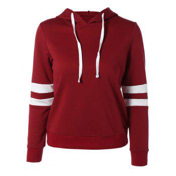 Long Sleeve Sports Color Block Hoodie - RED RED