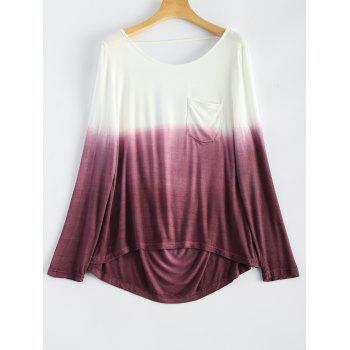 Backless Long Sleeve Ombre Color T-Shirt