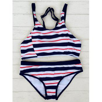 Adjustable Straps Striped Sporty Bikini Set