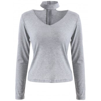 Skinny Cotton Long Sleeve Choker T-Shirt - GRAY GRAY
