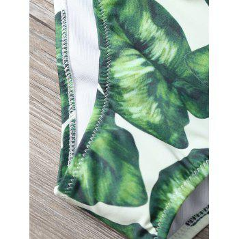 Strapless Leaf Print Ruched Bikini Set - GREEN L