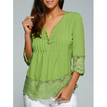V Neck 3/4 Sleeve Lace Spliced Loose Blouse