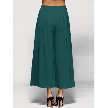Elastic Waist Palazzo Pants with Pockets - GREEN 4XL