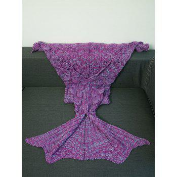 Warmth Crochet Knitting Fish Scales Design Mermaid Tail Style Blanket - LIGHT PURPLE S