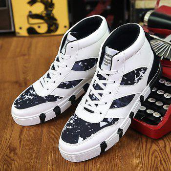 Color Block Splicing Lace Up High Top Chaussures de skate - [