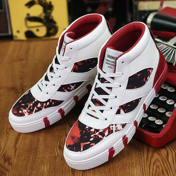 Color Block Splicing Lace Up High Top Chaussures de skate - Rouge 40
