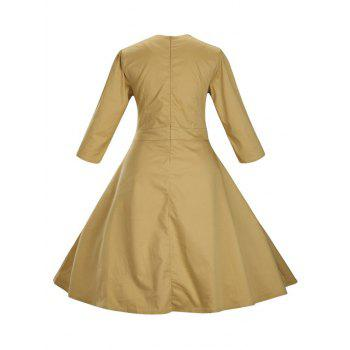 Retro Front Button Flare Tea Length Swing Party Dress - GINGER M