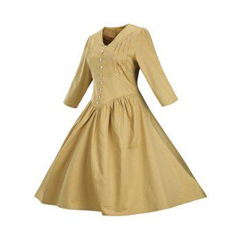Retro Front Button Flare Tea Length Swing Party Dress - GINGER 3XL