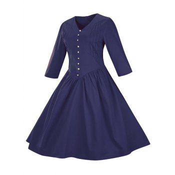 Retro Front Button Flare Tea Length Swing Party Dress - PURPLISH BLUE M