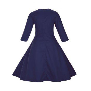 Retro Front Button Flare Tea Length Swing Party Dress - PURPLISH BLUE 2XL