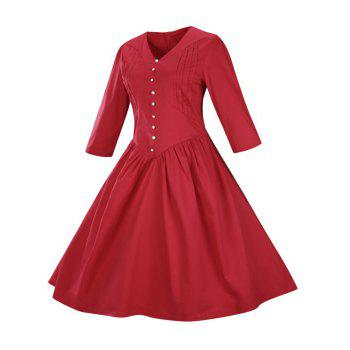 Retro Front Button Flare Tea Length Swing Party Dress - RED 2XL