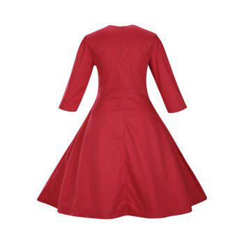 Retro Front Button Flare Tea Length Swing Party Dress - RED S