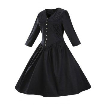 Retro Front Button Flare Tea Length Swing Party Dress - BLACK M