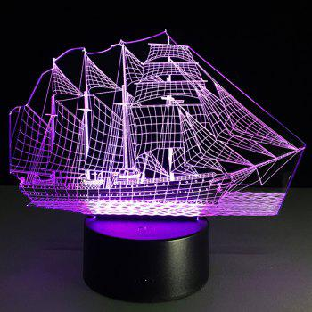 Festival 3D Sailing Ship Shape Touch Colorful Night Light -  TRANSPARENT