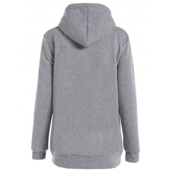 Inclined Zipper Drawstring Plus Size Hoodie - GRAY 2XL
