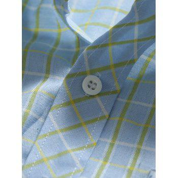 Slim-Fit Long Sleeve Pocket Design Plaid Shirt - LIGHT BLUE 2XL