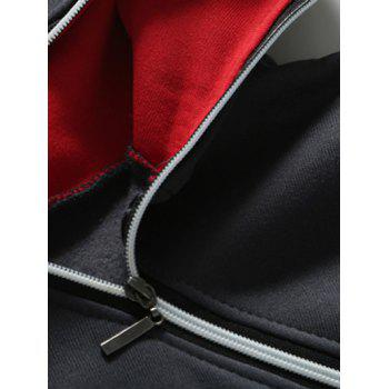 Slim-Fit Side Zip Design Pullover Hoodie - GRAY/RED L