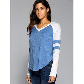 Long Sleeve V Neck Arc-Shaped Hem T-Shirt - MEDIUM BLUE L