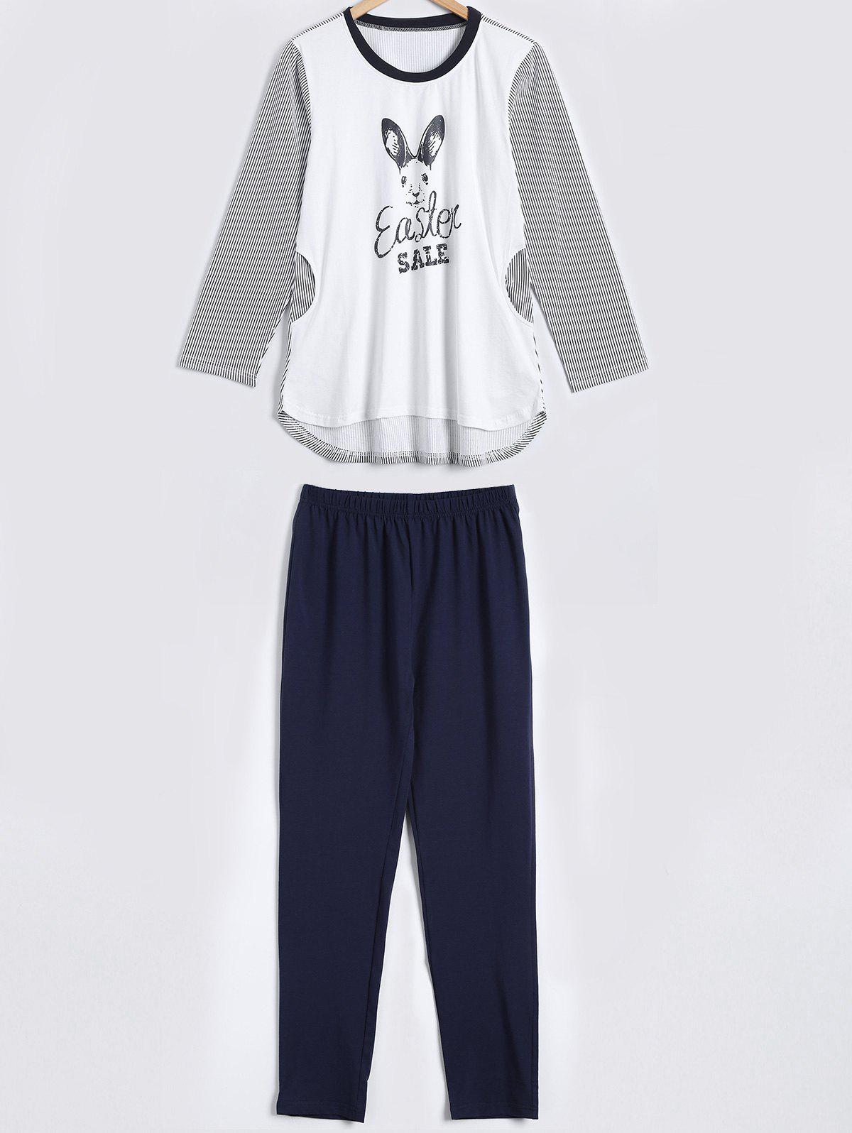 Striped Lapin Imprimer High Low Pajama Set - Blanc M
