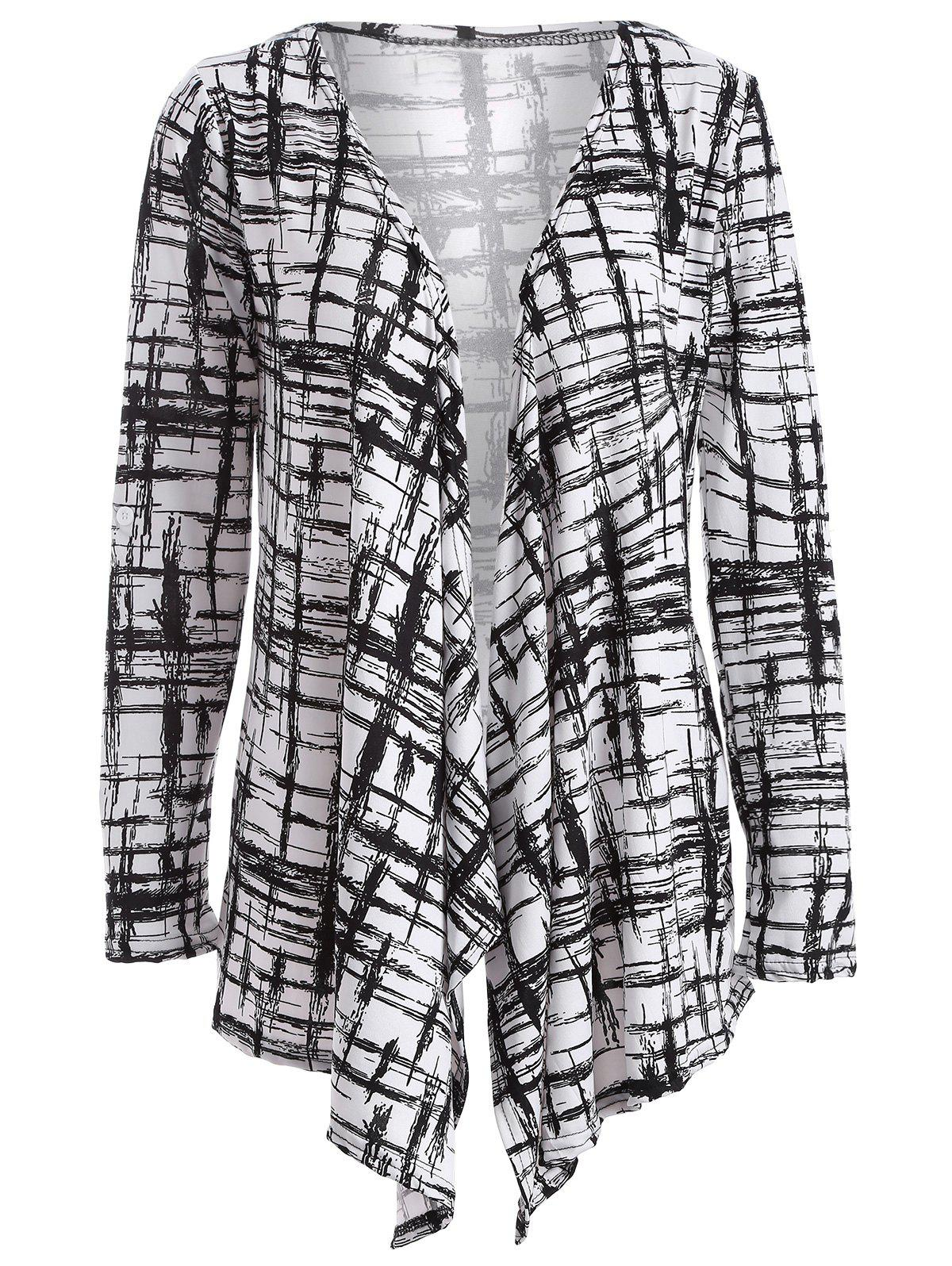 Autumn Scrawl Plaid Print Irregular Cardigan - BLACK S