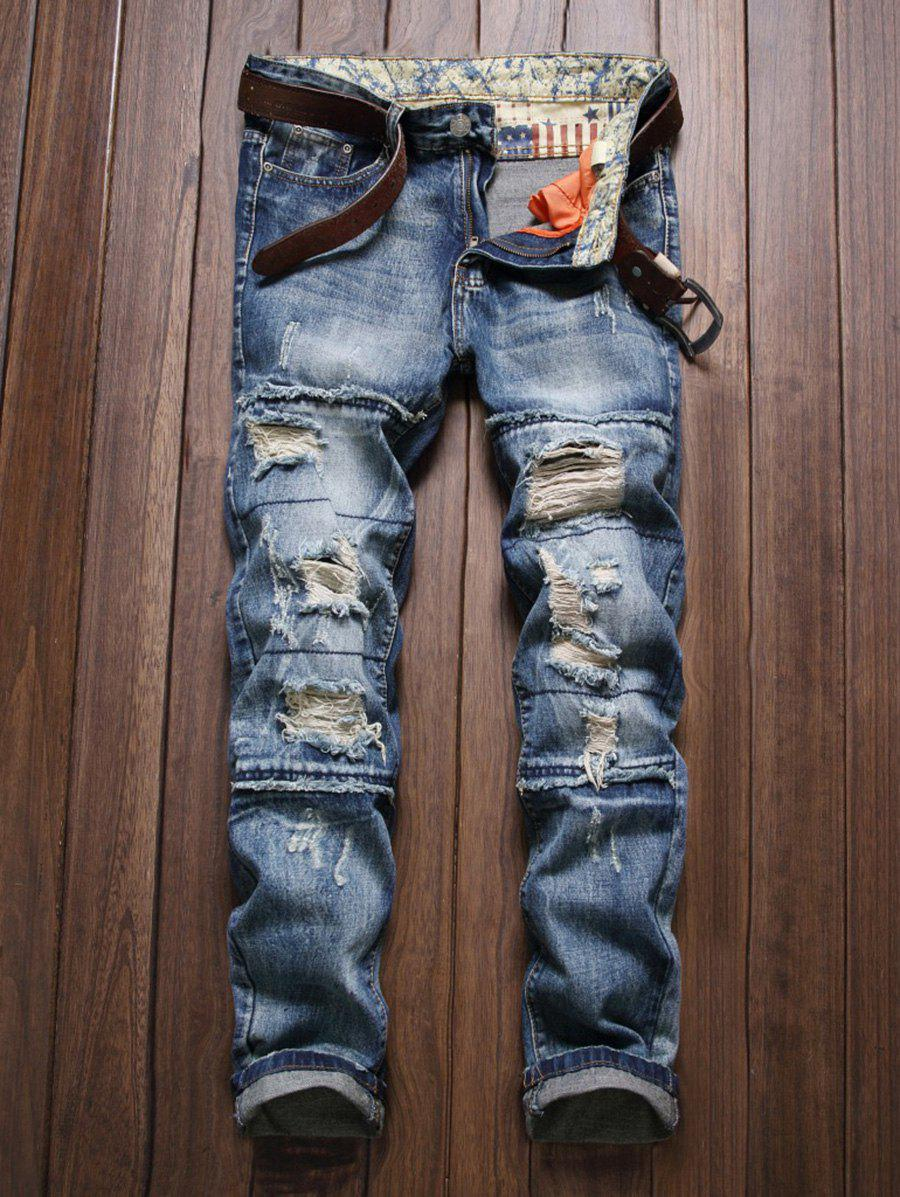 2018 Zipper Fly Frayed Scratched Ripped Jeans Blue In Online Joger Riped 34