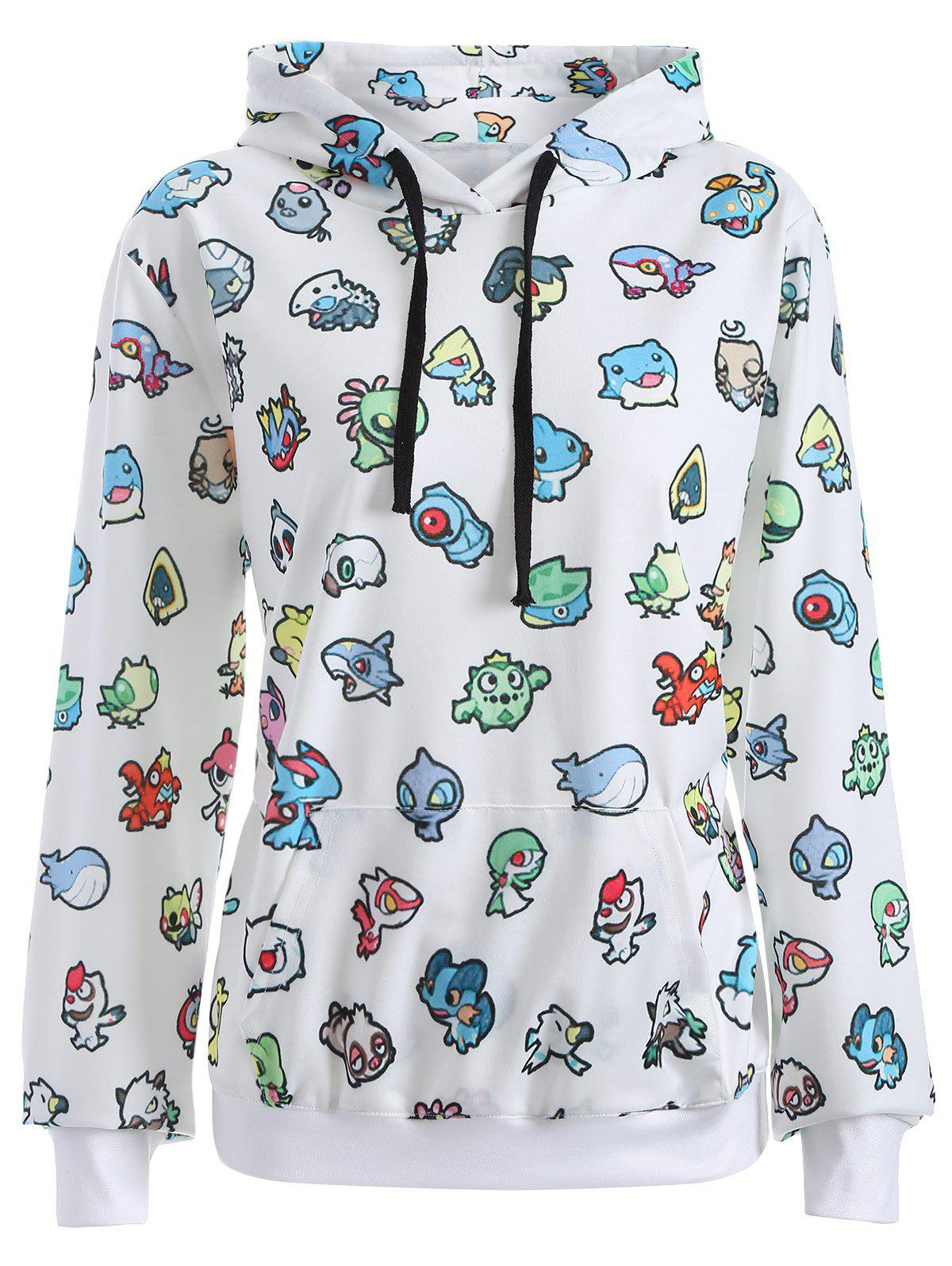 Pullover Cartoon 3D Print Hoodie - WHITE S