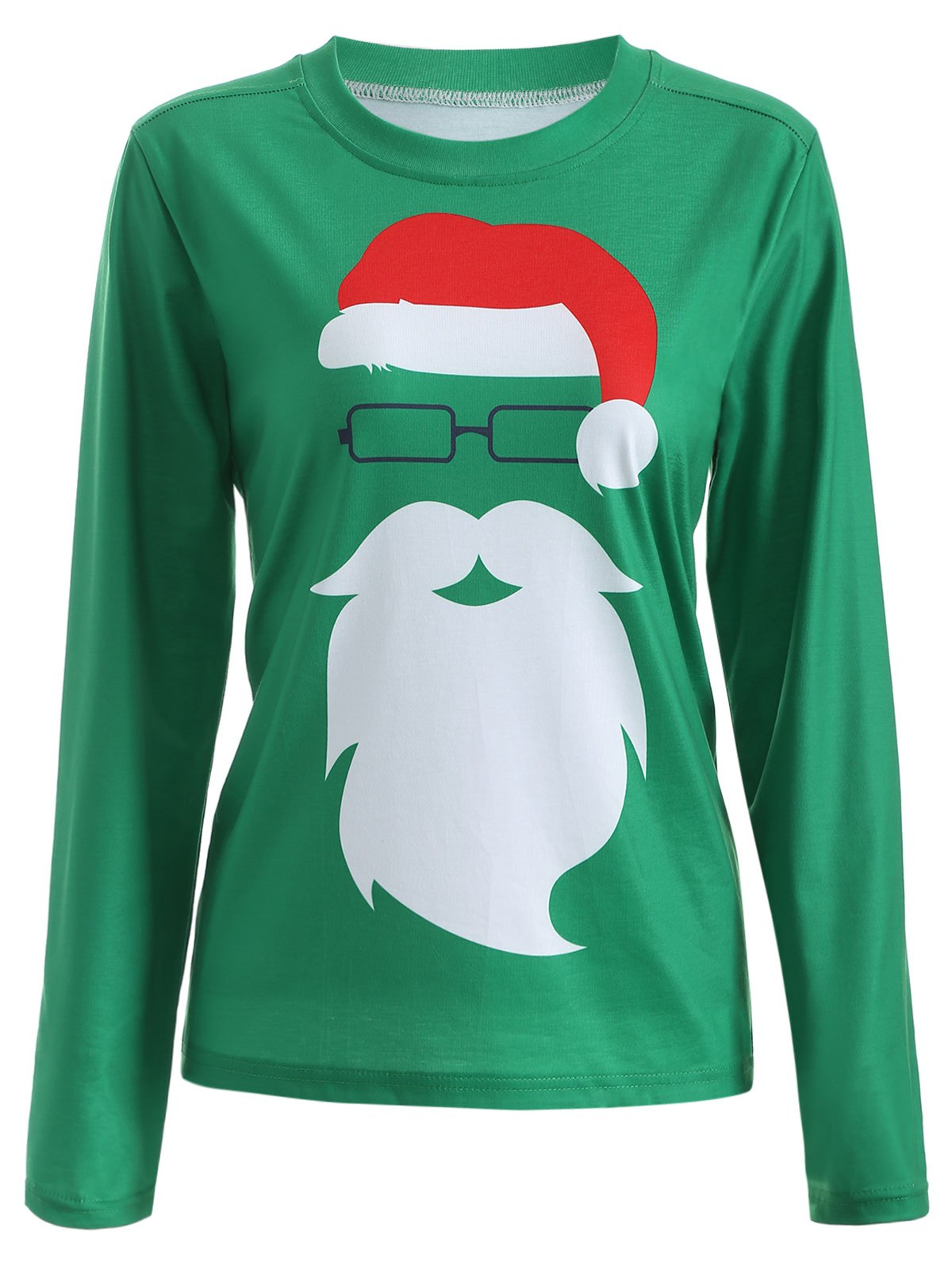 Santa Claus Graphic Christmas Long Sleeve T-Shirt - GREEN M