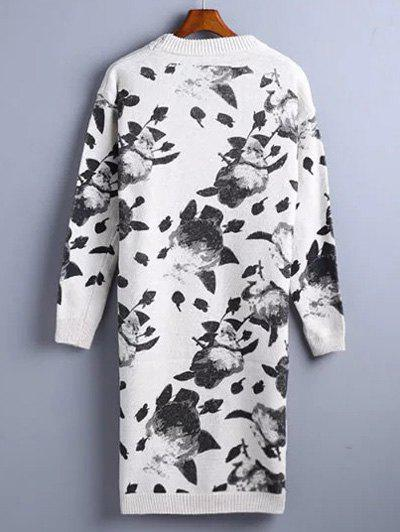 Chinese Painting Pattern Sweater Dress - WHITE ONE SIZE