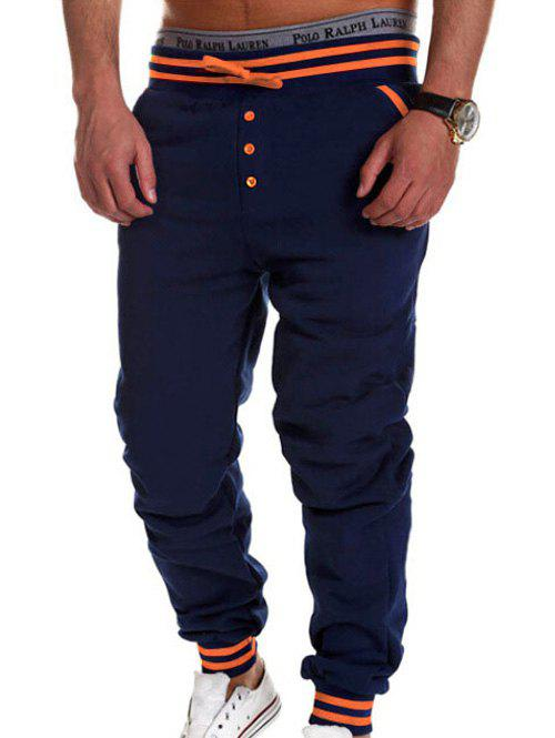 Buttoned Varsity Striped Drawstring Jogger PantsMen<br><br><br>Size: M<br>Color: CADETBLUE