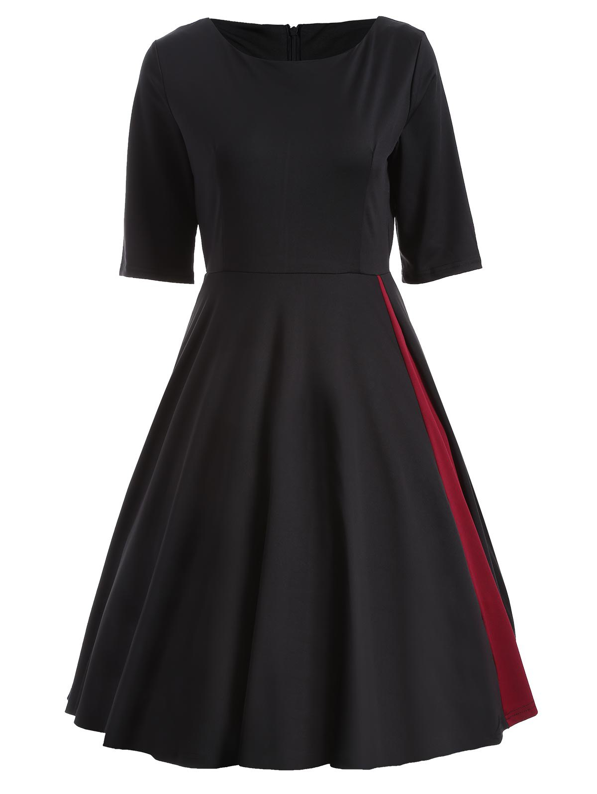 Color Spliced High Waist Swing Dress - BLACK L