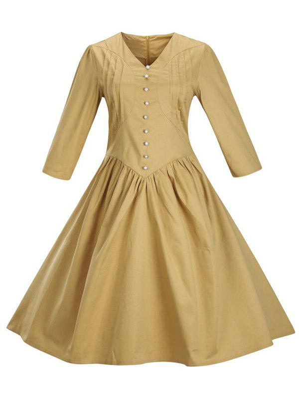 Retro Front Button Flare Tea Length Swing Party Dress - GINGER L